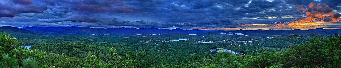 Saranac Lake,storm,village,clouds,treetop,Mt Baker,Baker,sunset,summer,Saranac Lake village, photo