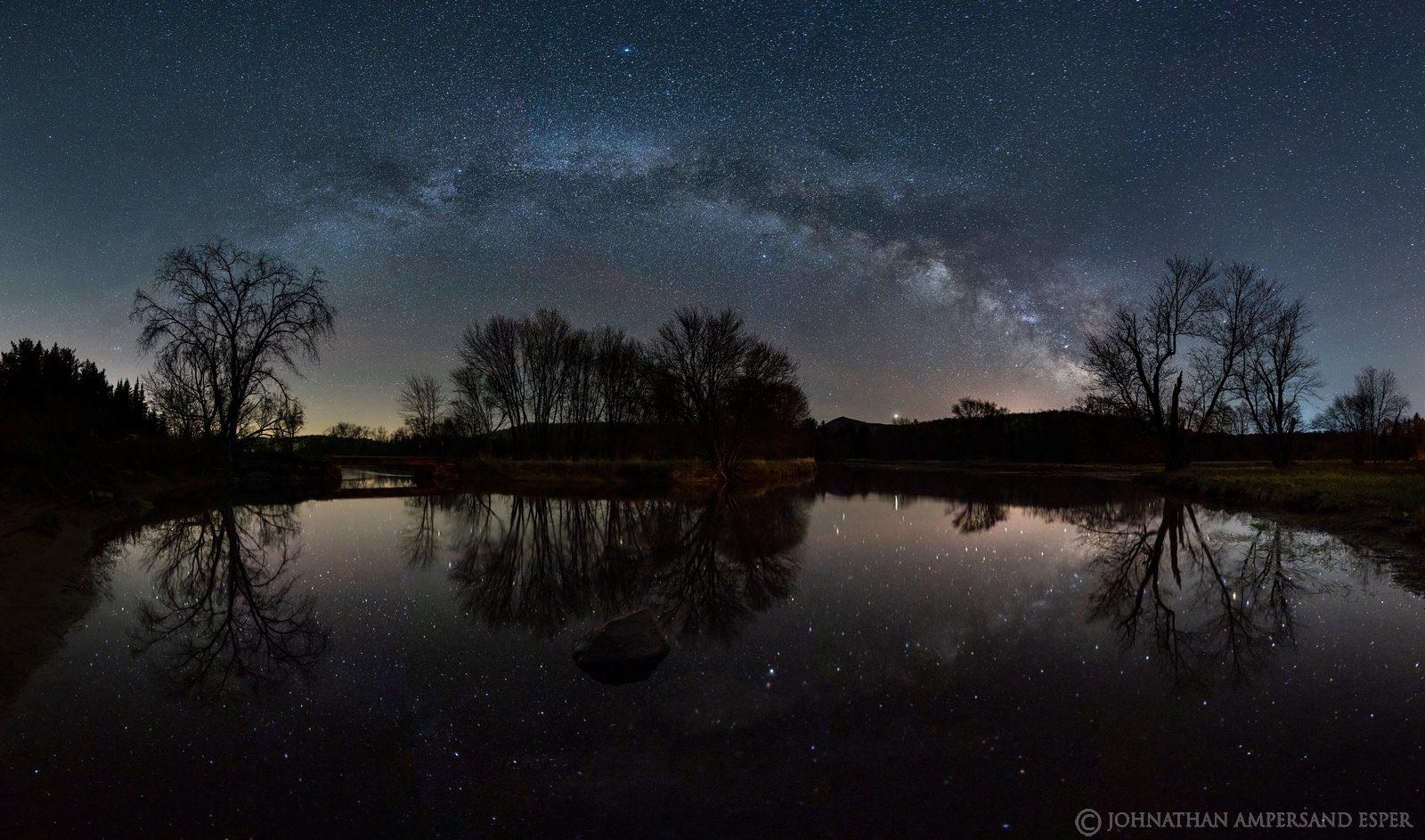 Saranac River,Bloomingdale,Milky Way,panorama,Milky Way panorama,reflection,night,stars,May,spring,2020,