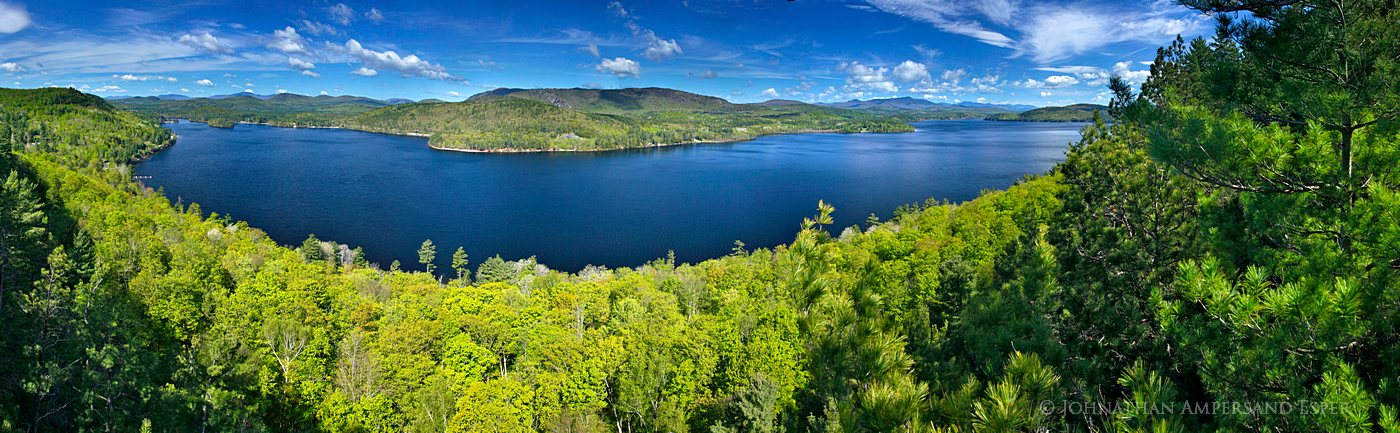 Schroon Lake,spring,springtime,fresh,green,leaves,treetop,panorama,180, photo