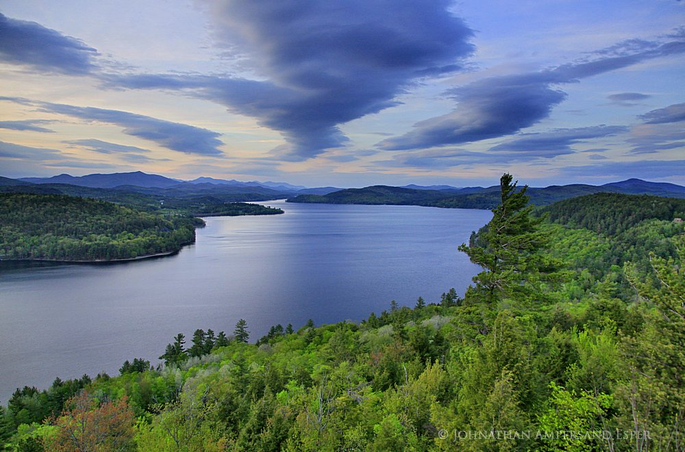Schroon Lake,treetop,spring,2012,Adirondack Park,sunset,clouds,Schroon Lake shore,, photo