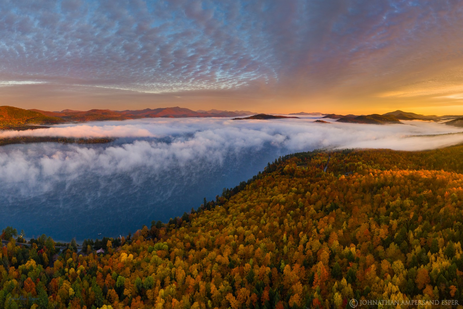 Schroon Lake,Browns house,fall,sunrise,2019,drone,aerial,High Peaks,Hoffman Mt,town of Adirondack, photo