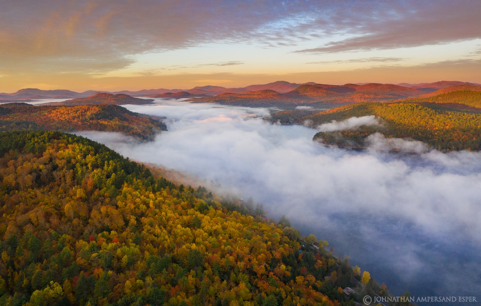 Schroon Lake,Browns house,fall,sunrise,2019,drone,aerial,Gore Mt,south,lake,fog,town of Adirondack, photo
