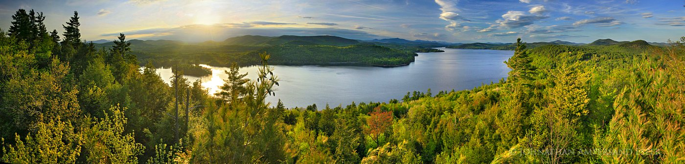 Schroon Lake,Adirondack,town,treetop,southeast shore,spring,sunset,High Peaks,se shore,panorama,lake,, photo