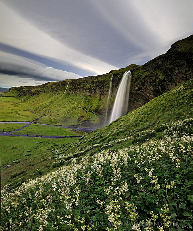 Seljalandsfoss, Iceland,wildflowers,clouds stripes, photo