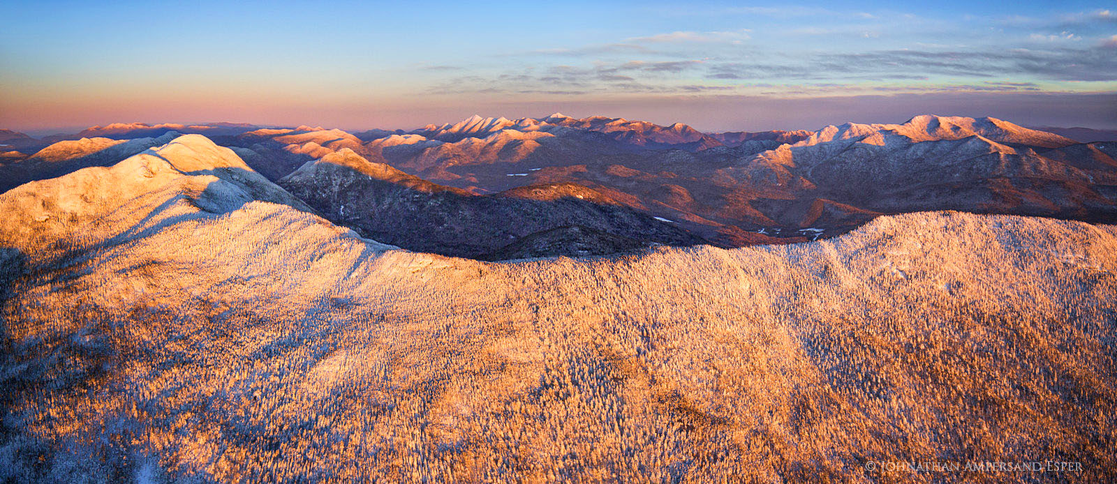 Seward Range,Seward Mt,aerial,winter,sunset,aerial winter,alpenglow,light,2016,Donaldson,Emmons,Santanoni,Santanoni Range,High Peaks,Adirondack Mountains,Adirondack,peaks,, photo