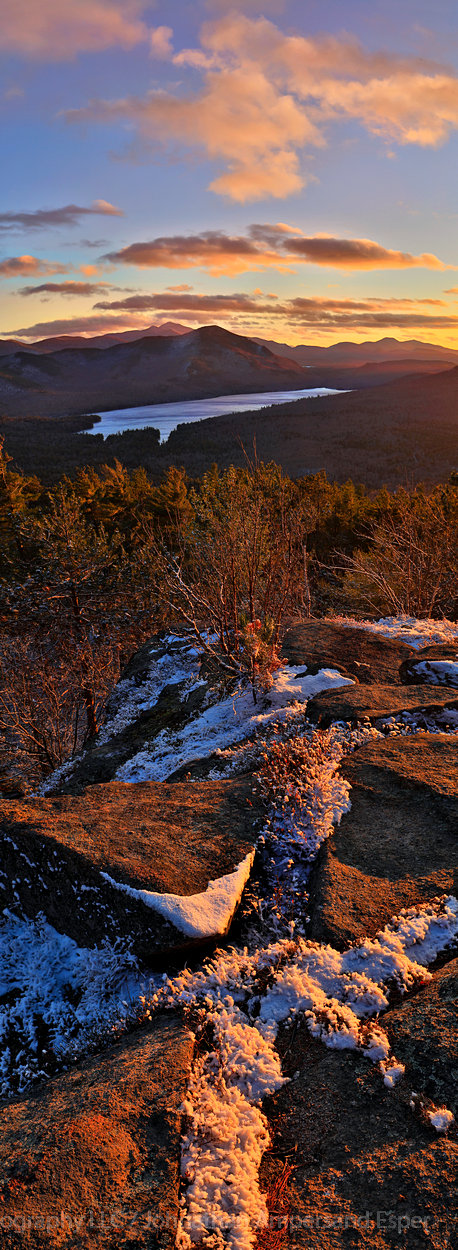 Silver Lake Mt,Silver Lake Mountain,November,sunset,Silver Lake,Taylor Pond,Whiteface Mt,Catamount Mt,snow dusting,November snow,northern Adirondacks,Adirondacks,Adirondack,mountain,vertical panorama,, photo