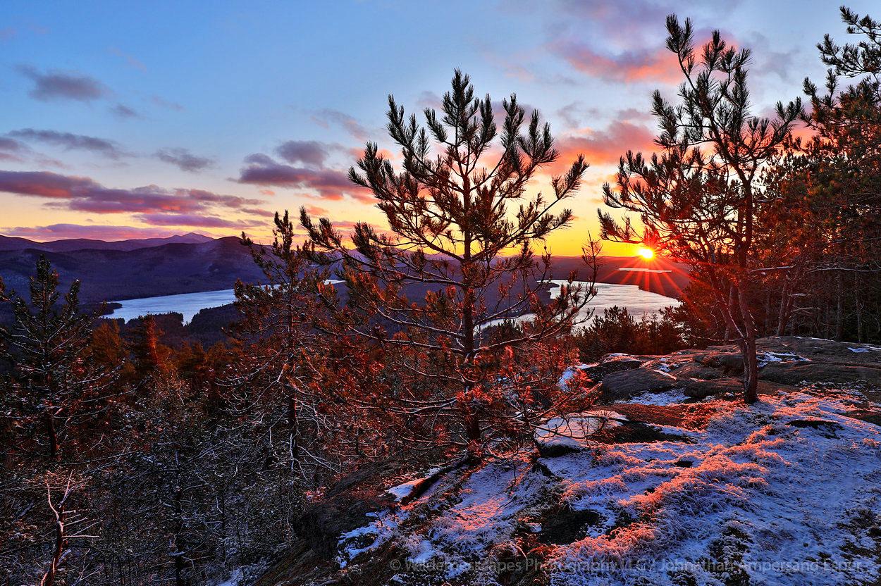 Silver Lake Mt,Silver Lake Mountain,November,sunset,Silver Lake,Taylor Pond,Whiteface Mt,Catamount Mt,snow dusting,November snow...