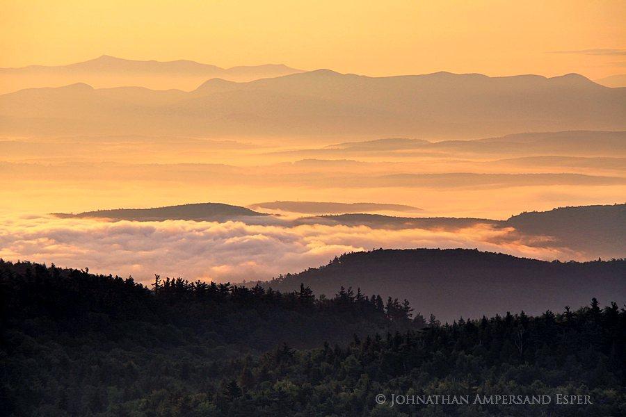 Vermont,hills,layers,sepia,sunrise,golden,fog,valleys,Adirondack Mountains,Adirondack Park,Sleeping Beauty Mt,, photo