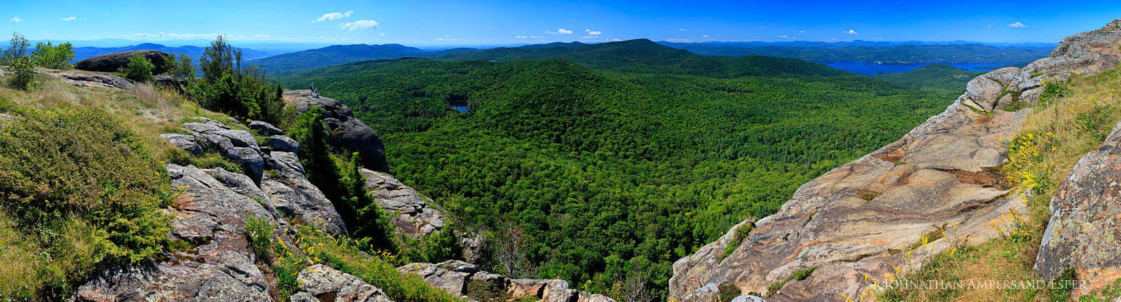 Sleeping Beauty Mt, Lake George, panorama, hikers, couple, dog, pet, hiking, vista, enjoying, views, day hike, southern, Adirondacks, landscape, clear, warm, New York State, Adirondack Park, Adirondac, photo