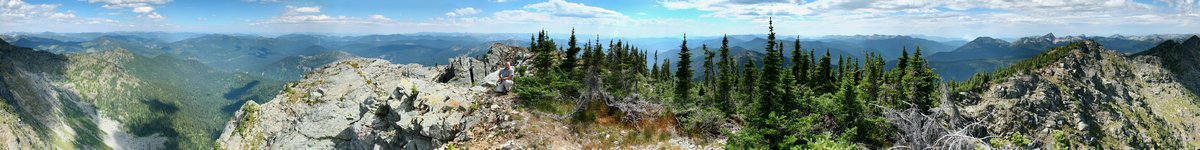 Canada, USA, border, international, boundary, swath, cleared, land, 360 degree, panorama, Salmo-Priest Wilderness Area,, photo