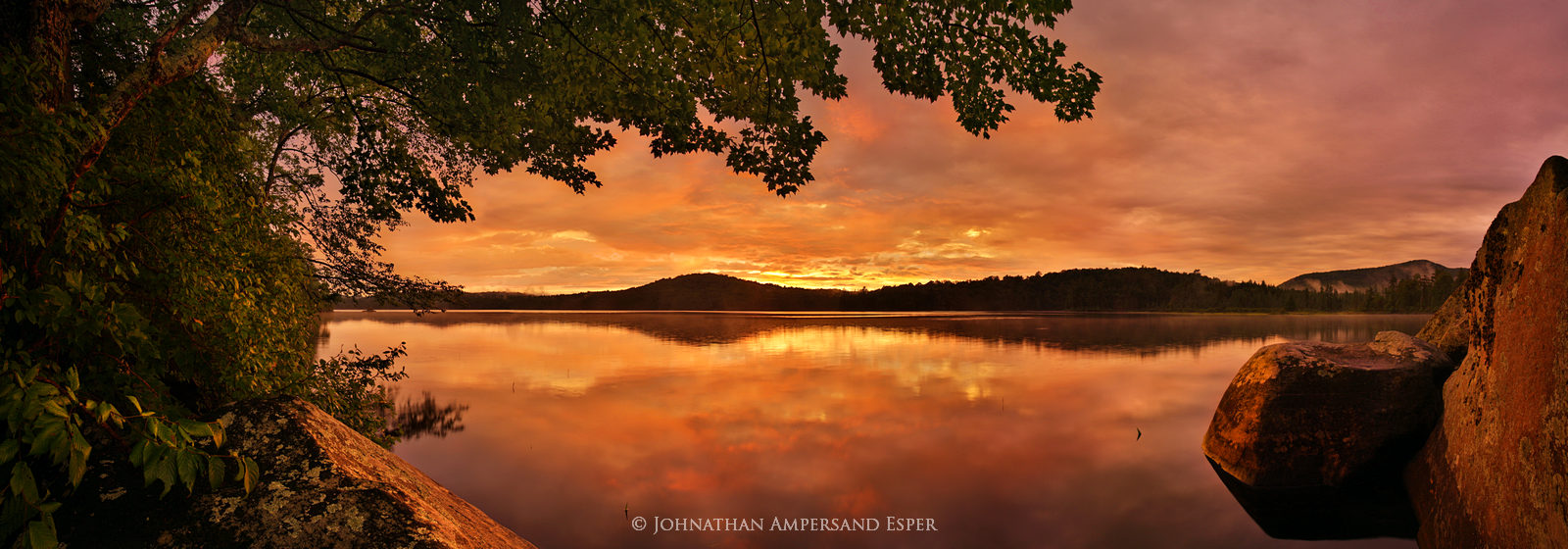 South Pond,orange sunset,orange,summer,lake,panorama,pond,Adirondack Park, photo
