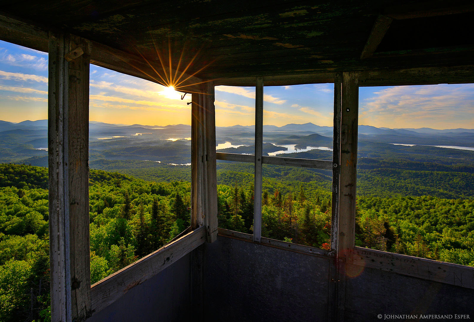 St Regis Mt Firetower Cabin Window View Of Summer Morning