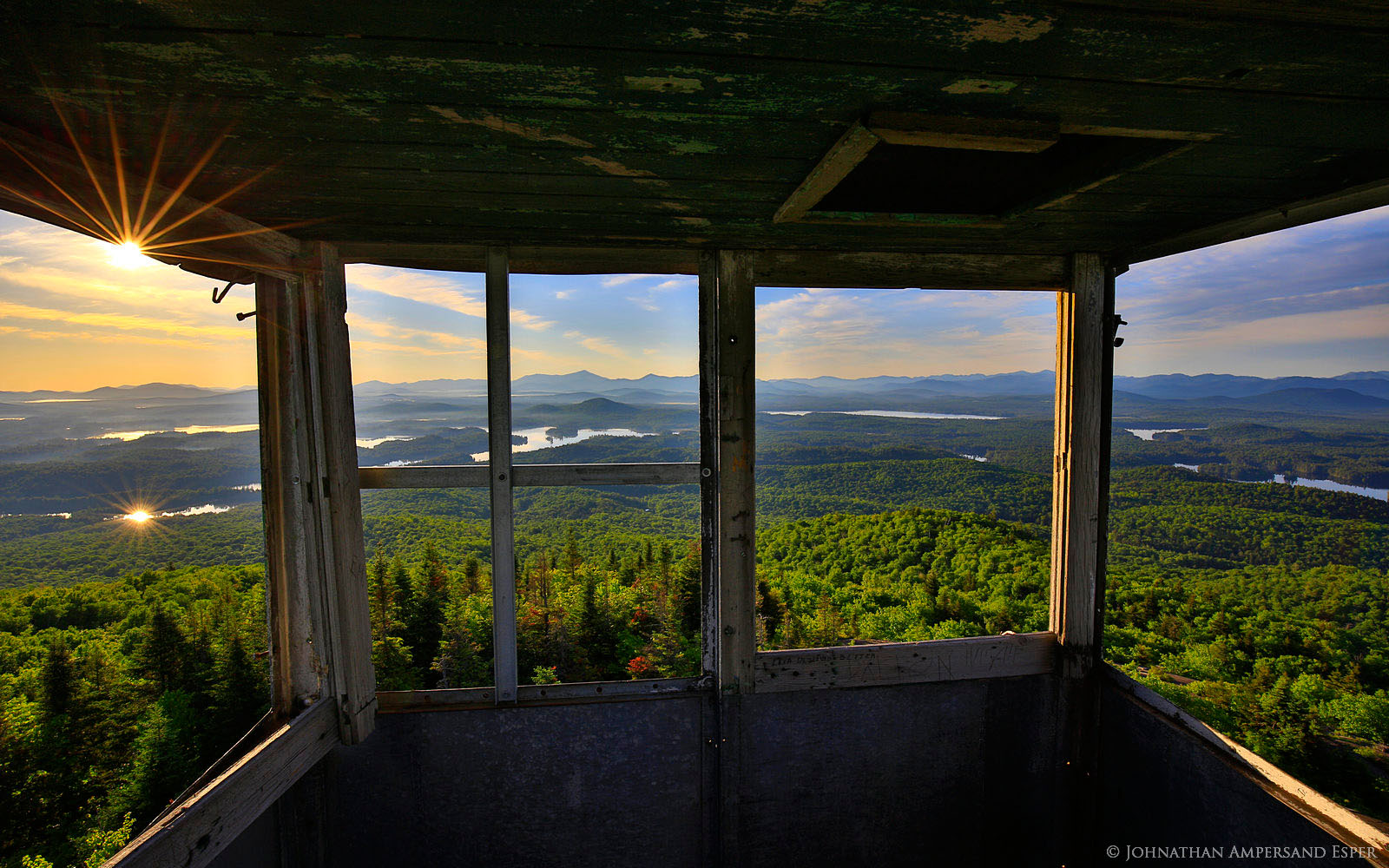 St Regis Mt Firetower Cabin Window View Of Adirondack High Peaks