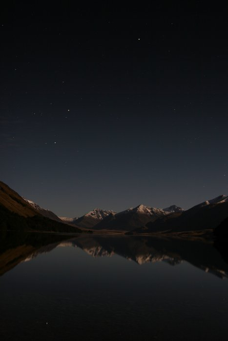 Starry, night, over, North Mavora Lake, stars, calm, photo