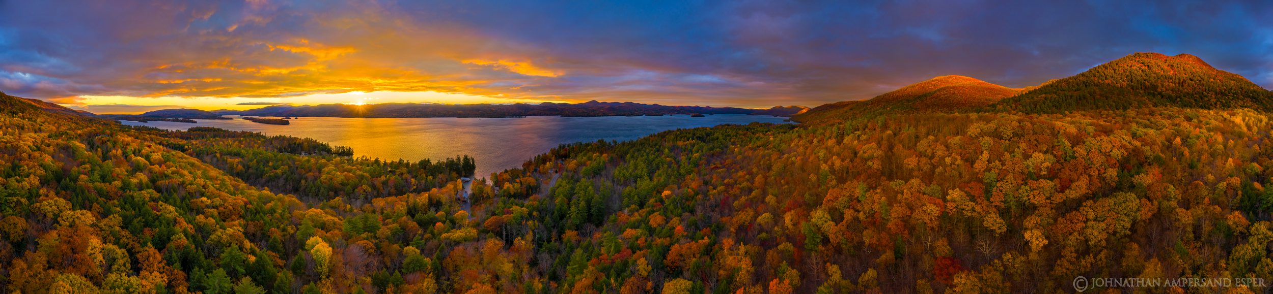 Stewarts Ledge overlook Lake George 360 degree drone panorama, comprised of 105 source files.