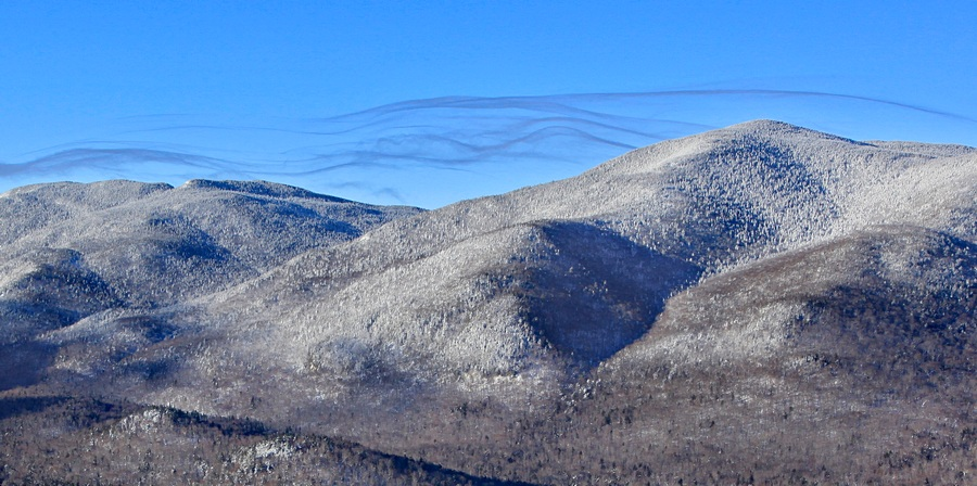 lenticular,clouds,wispy,over,Street Mountain,Street Mt,Nye,Street and Nye,High Peaks,Adirondack,mountains,winter,
