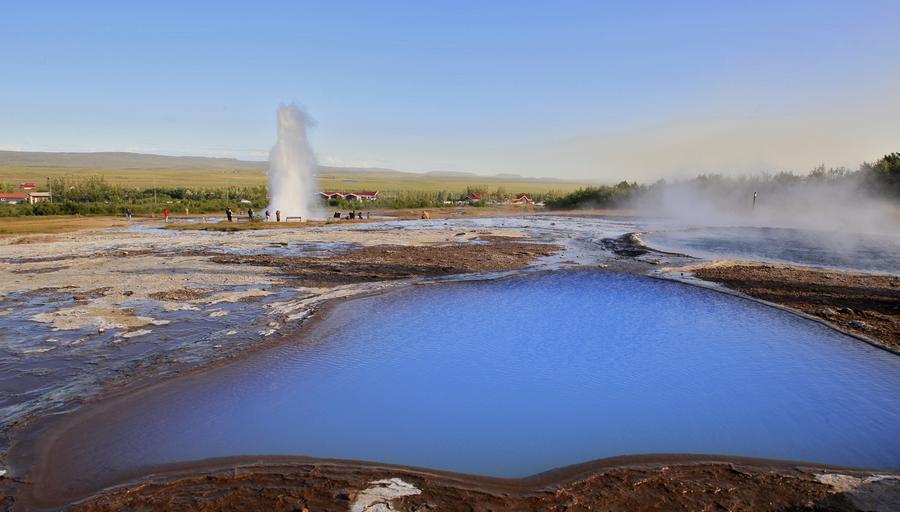 Strokkur,geyser,geysir,Iceland,Icelandic,Blesi,pool,geothermal,blue,amazing,bright,water,erupting, photo
