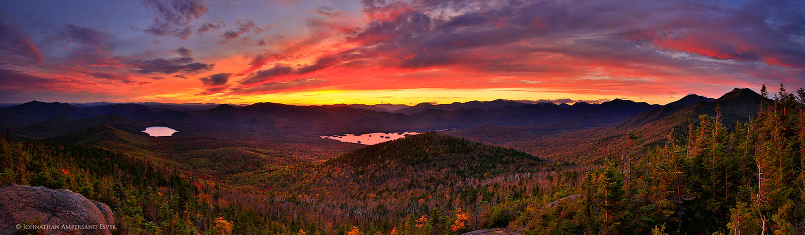 Elk Lake, Sunrise Mt, sunset,High Peaks,Adirondack mountains,Adirondacks,Clear Pond,Elk Lake Preserve,private