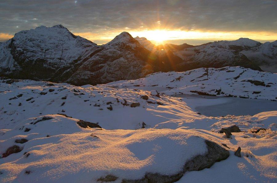 Mt. Memphis, Dusky Track, Fiordland National Park, early, winter, snow, sunset, Darran Mountains, wilderness, photo