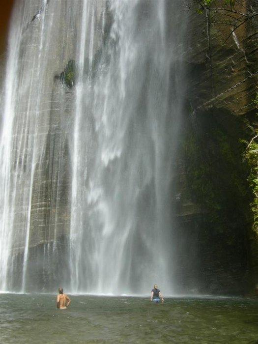 Shine Falls, waterfall, North Island, New Zealand, swimming, wading, below, Hawke's Bay, region, photo