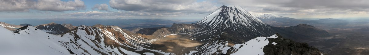 200 degree, panorama, Mt. Tongariro, Mt. Ngauruhoe, Tongagriro Crossing, Tongariro National Park, New Zealand, photo