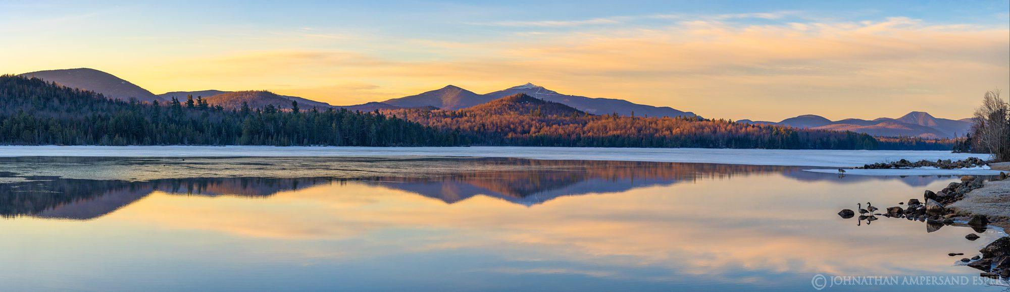 Union Falls Pond,Union Falls,winter,late winter,ice,Canada geese,geese,Whiteface Mt,Moose Mt,panorama,2020,March,lake,Adirondack,Adirondacks,, photo