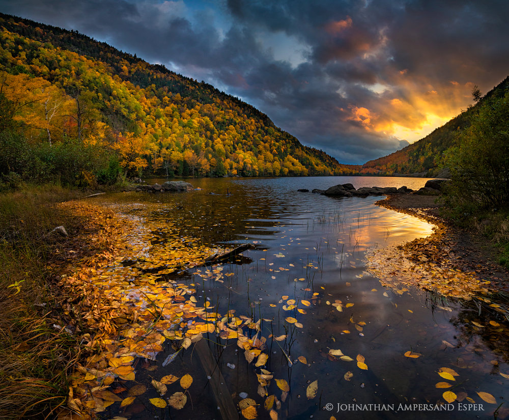Upper Cascade Lake,Cascade Lake,Cascade Lakes,Cascade Mt,autumn,sunrays,lake,Adirondack,Adirondacks,birch,birch leaves,Johnathan Ampersand Esper,dramatic skies,stormy skies,storm,fall,outlet,, photo