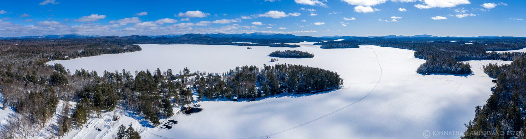 Upper Saranac Lake,winter,late winter,March,2020,sunny,drone,panorama,360 degree panorama,Saranac Lakes, photo