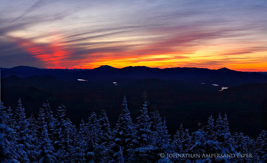 Vanderwhacker Mt,sunset,winter,treetop,, photo