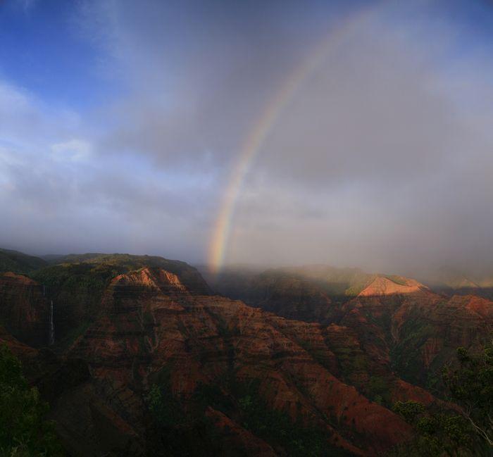 Waimea Canyon, rainbow, Kauai, Kaua'i, Hawaii, waterfalls, waterfall, above, canyon, photo