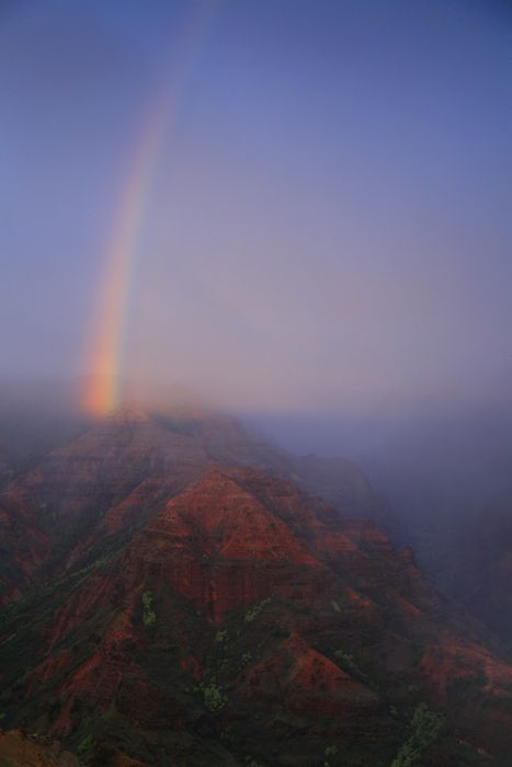 Waimea Canyon, rainbow, sunset, shadow, canyon, rainstorm, moody, Kauai, Hawaii, photo