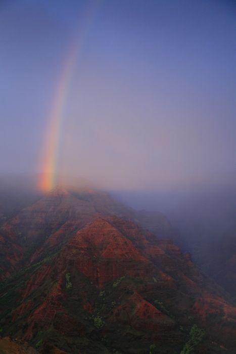 Waimea Canyon, rainbow, sunset, shadow, canyon, rainstorm, moody, Kauai, Hawaii, photo