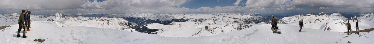 Whetterhorn, dejavu, summit, san juan mountains, colorado, mountaineers, multiple, repeated, everywhere, 360 degree, pan, photo