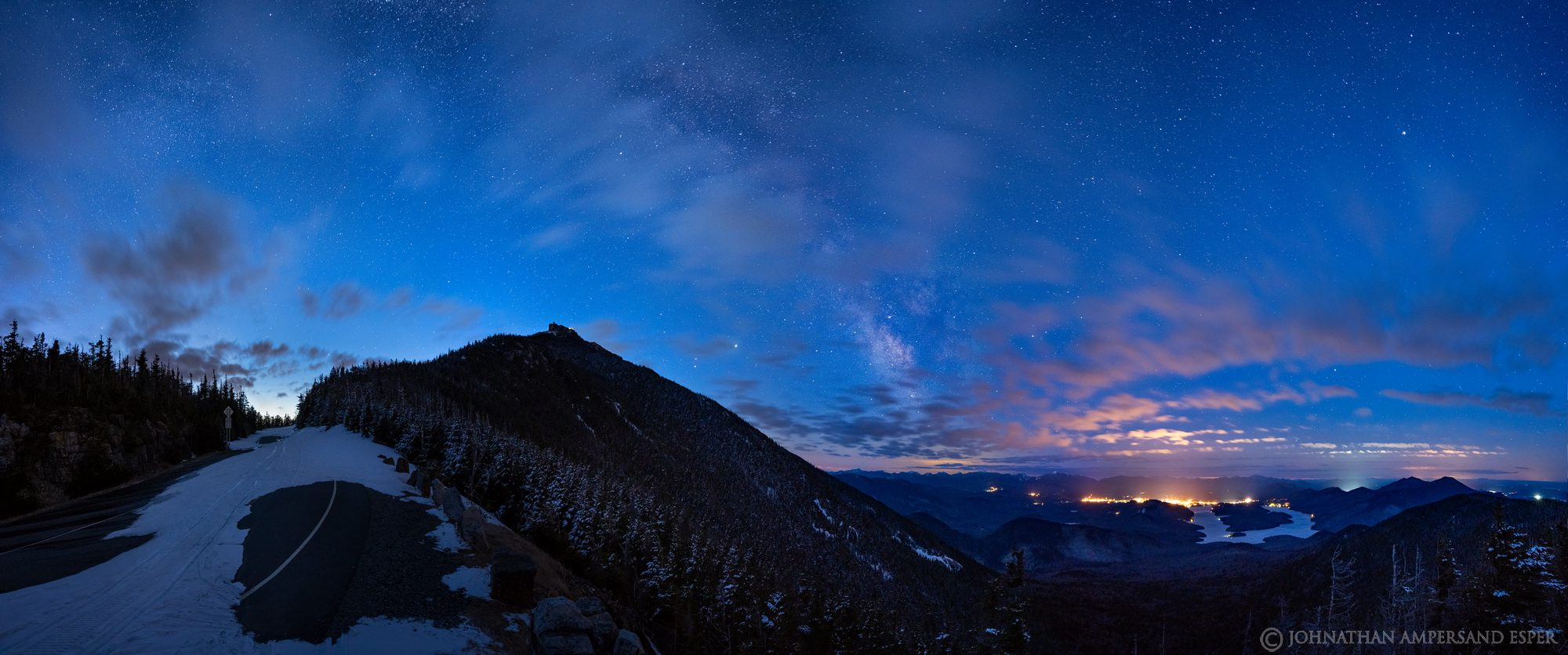 Whiteface Mt,Lake Placid,night,sky,stars,Milky Way,Whiteface Memorial Highway,winter,village of Lake Placid,panorama,, photo