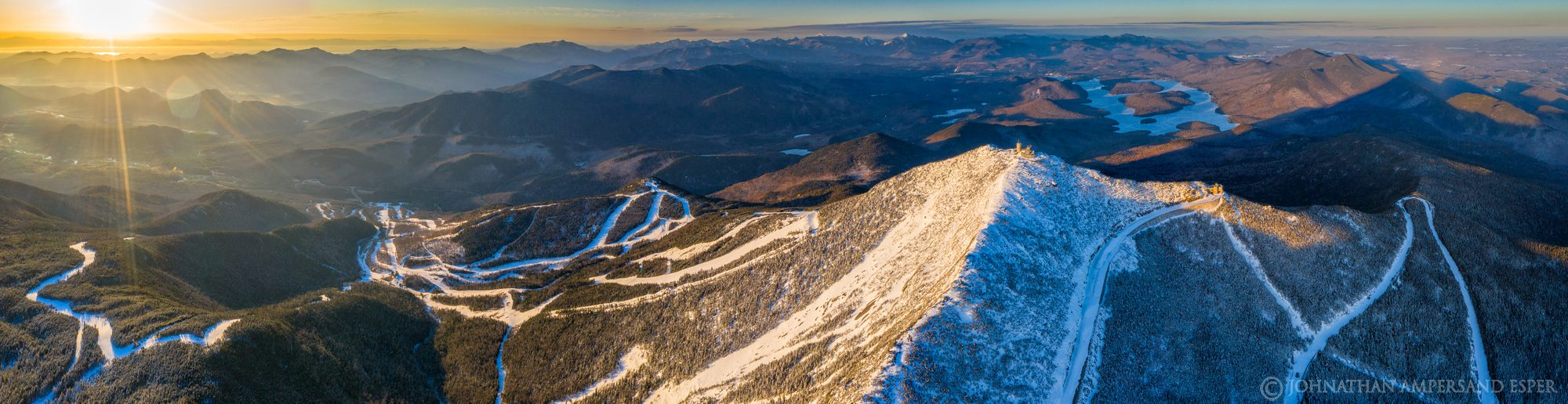 Whiteface Mt,Whiteface Mountain,Whiteface Ski Area,ski area,trails,Whiteface Mt ski area,summit,winter,March,2020,drone,aerial...