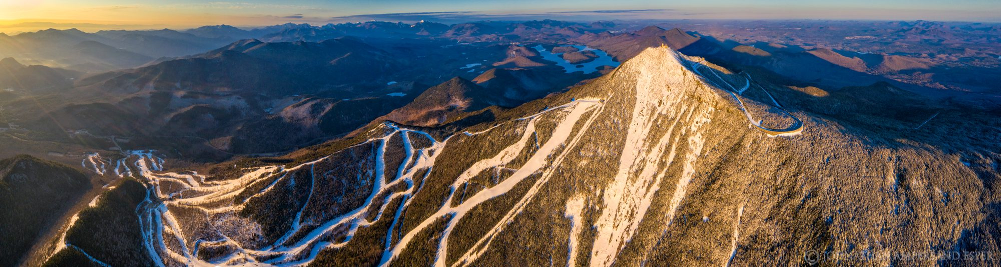 Whiteface Mt,Whiteface Mountain,Whiteface Ski Area,ski area,trails,Whiteface Mt ski area,summit,winter,March,2020,drone,aerial,panorama,sunrise,light,slides,summit slides,face,, photo