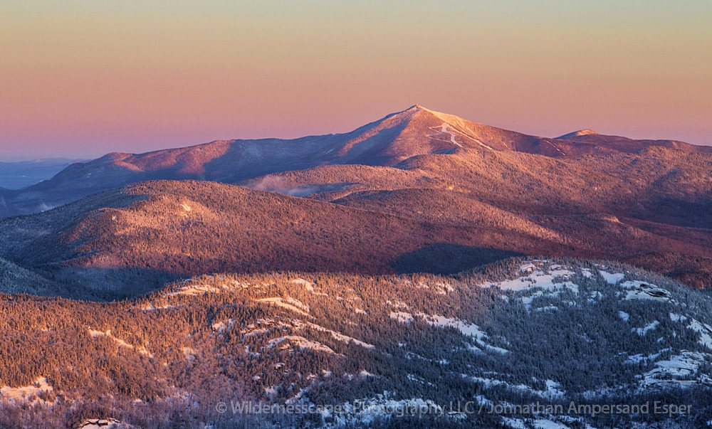 Whiteface Mt,Cascade Mt,winter,alpenglow,telephoto,sunrise,Whiteface Mt alpenglow from Cascade Mt,Adirondack Mountains,H, photo