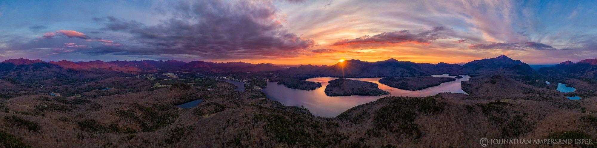 Whitney Mt,drone,360 degree panorama,panorama,aerial,May,spring,2020,sunset,Lake Placid,Lake Placid village,village,Mirror Lake...