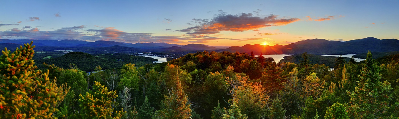 Lake Placid,village,Mirror Lake,Cobble Hill,Treetop,Whitney,Mt,summer,sunset,High Peaks,region,ski jumps,, photo