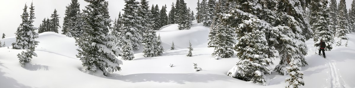 Red Mountain Pass, backcountry, skiing, splitboarding, Jack Brauer, Ouray, Colorado, panorama, winter, white, deep, snow, photo