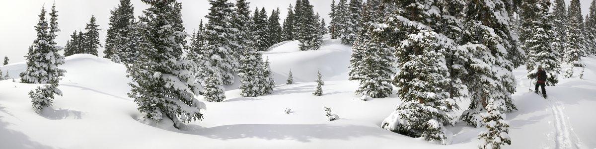 Red Mountain Pass, backcountry, skiing, splitboarding, Jack Brauer, Ouray, Colorado, panorama, winter, white, deep, snow, photo