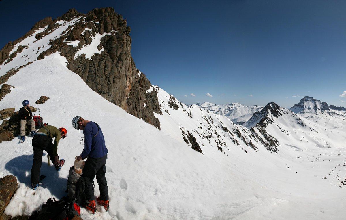 gearing up,Wetterhorn, summit,winter,colorado,climbing,climbers,equipment,technical,San Juan,mountains,14ers, photo